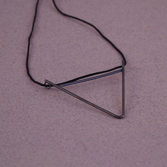 Black triangle necklace black necklaces long minimal