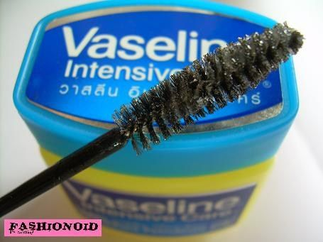 Beauty Secret: For a natural look, try using plain Vaseline on your lashes instead of mascara. It darkens lashes, it won't dry up to make lashes break off, and it won't cake up. -Monti