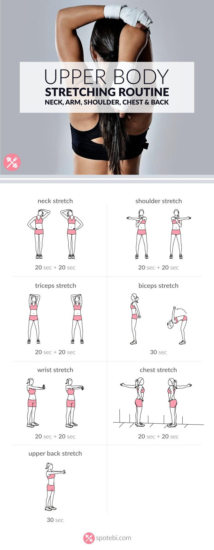 Stretch your neck, arm, shoulder, chest and back with these upper body stretching exercises. A set of stretches to relax the body and improve range of motion.  http://www.spotebi.com/workout-routines/upper-body-stretching-exercises/