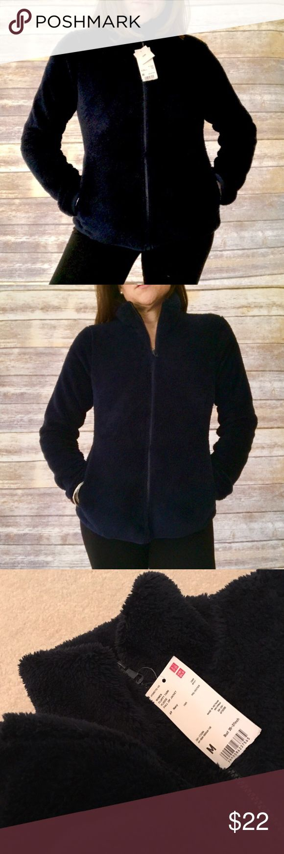 Super Soft Fleece Jacket - Navy, New, Med Soft, beautiful rich navy. Inner and outer pockets. Double Xmas gift. Never worn and Uniqlo won't take returns without receipts. Great spring / summer campfire jacket! Uniqlo Jackets & Coats