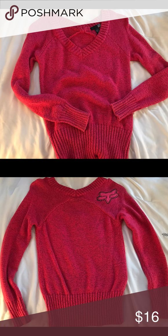 Pink Fox sweater Thick and warm Fox sweater/ worn once. Fox Sweaters V-Necks