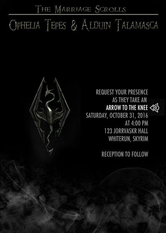 Elder Scrolls Skyrim Wedding Invitation Save the by PandorasArt