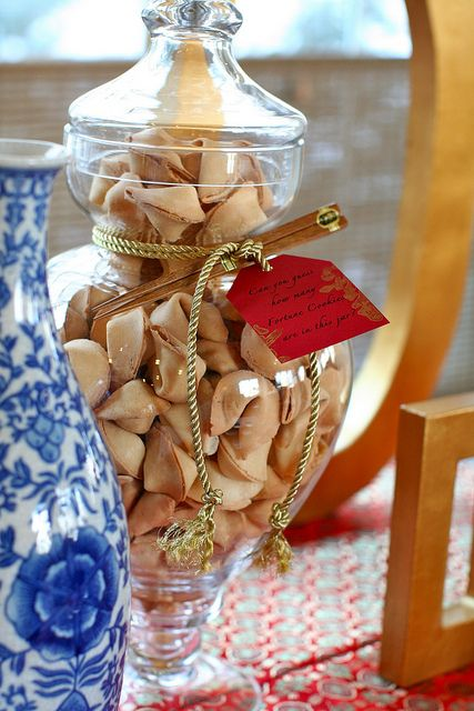 Chinese New Year Party-guess how many fortune cookies are in jar