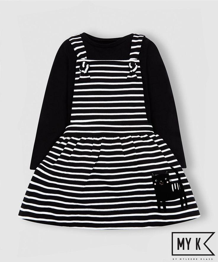 my k striped pinny dress and t-shirt set
