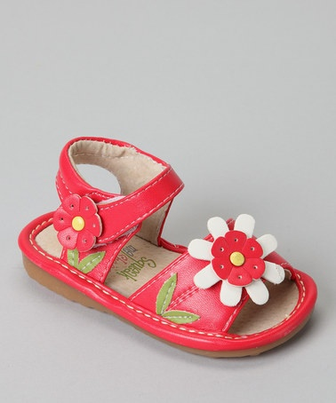 Take a look at this Red Daisy Squeaker Sandal by Squeak Me Shoes on #zulily today!