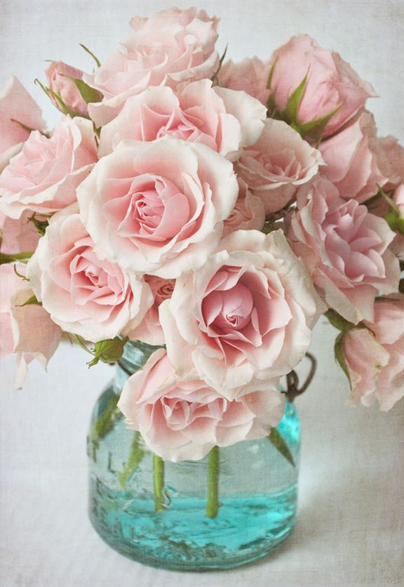 Pink Roses in Aqua Glass
