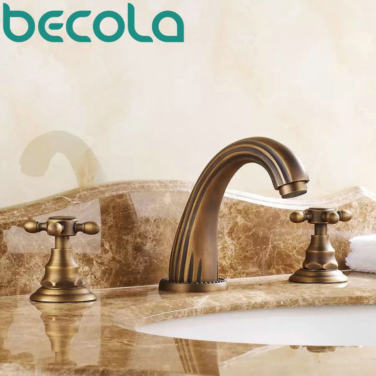 Free shipping antique brass bathroom faucet double handle Three piece hot and cold water basin taps GZ-8204