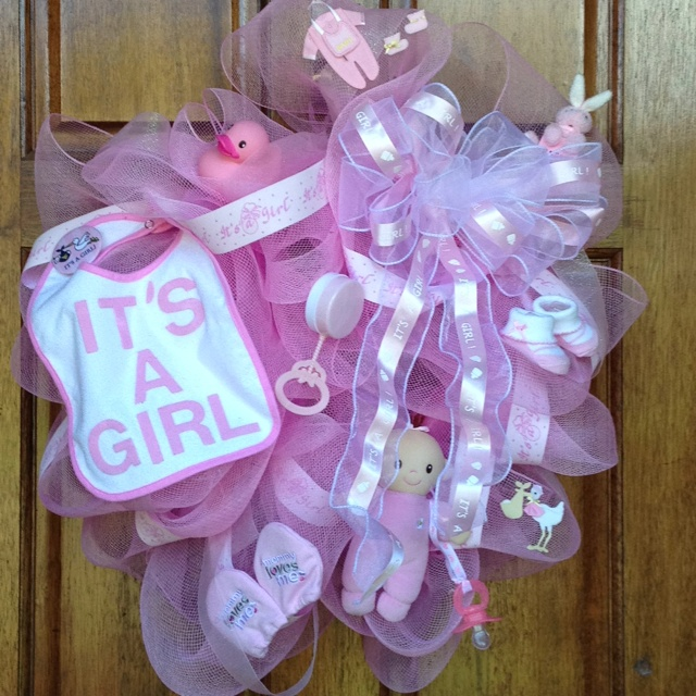 Welcome Baby Girl Wreath