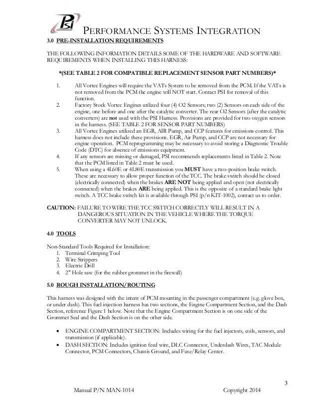 Har 1014 Vortec Dbw Wiring Harness Manual And Instructions