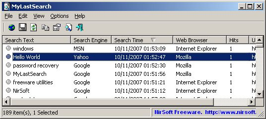 MyLastSearch v1.65 MyLastSearch utility scans the cache and history files of your Web browser, and locate all search queries that you made with the most popular search engines (Google, Yahoo and MSN) and with popular social networking sites (Twitter, Facebook, MySpace). #computers #software #freeware #opensource