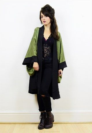 80s+green/black+tiger+print+Japanese+kimono