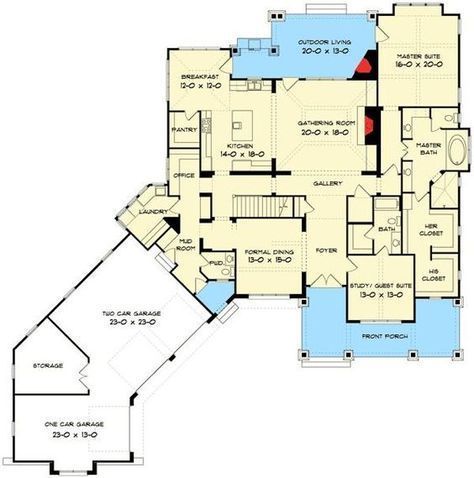 Elegant Master Down Craftsman House Plan - 93072EL | 1st Floor Master Suite, Bonus Room, Butler Walk-in Pantry, CAD Available, Craftsman, Den-Office-Library-Study, Luxury, Media-Game-Home Theater, Northwest, PDF, Photo Gallery, Premium Collection | Architectural Designs. I would turn the stairs around