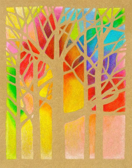 Trees Colored Pencil Art Print 8 x 10 inches by roxy5235 on Etsy, $19.99