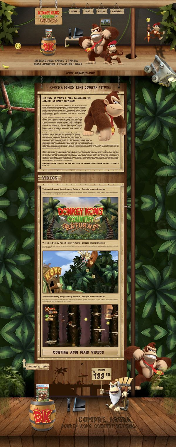 Donkey Kong Country Returns - UZ Games by Wilson Campos Gomes, via Behance, #it #web #design #layout #userinterface #website #webdesign <<< repinned by www.BlickeDeeler.de Follow us on www.facebook.com/BlickeDeeler