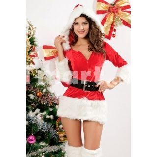 4Pcs Sexy Santa Ladies Christmas Party Dress Long Slevess Free Size