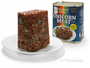 Unicorn Meat - sparkling, savory meat of today's elite. $9.99