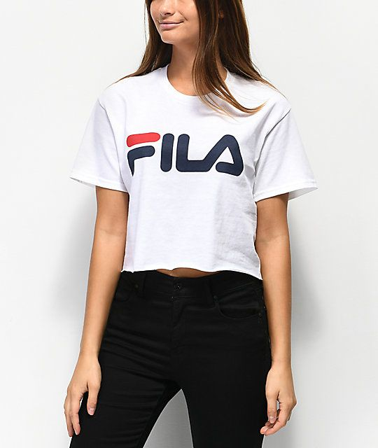 7344e8d0e14d FILA Logo White Crop T-Shirt in 2019 | ZUMIEZ | Shirts, Clothes, T shirt