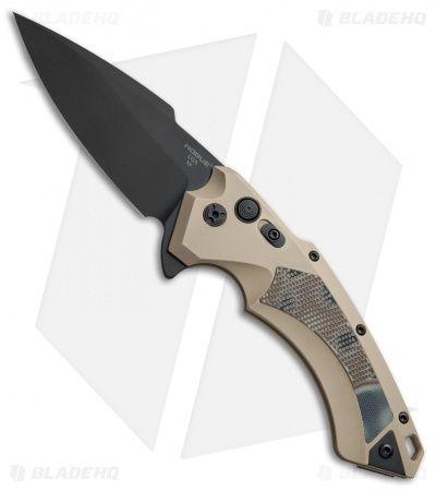 """Hogue Knives X-5 Tactical Flipper Knife FDE G-Mascus (4"""" Black)"""