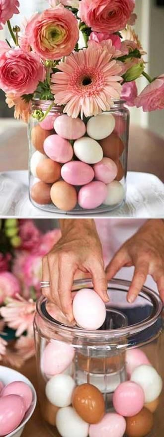 . . . i used rows of different colored plastic eggs and alstromeria...so pretty for an Easter centerpiece . . .