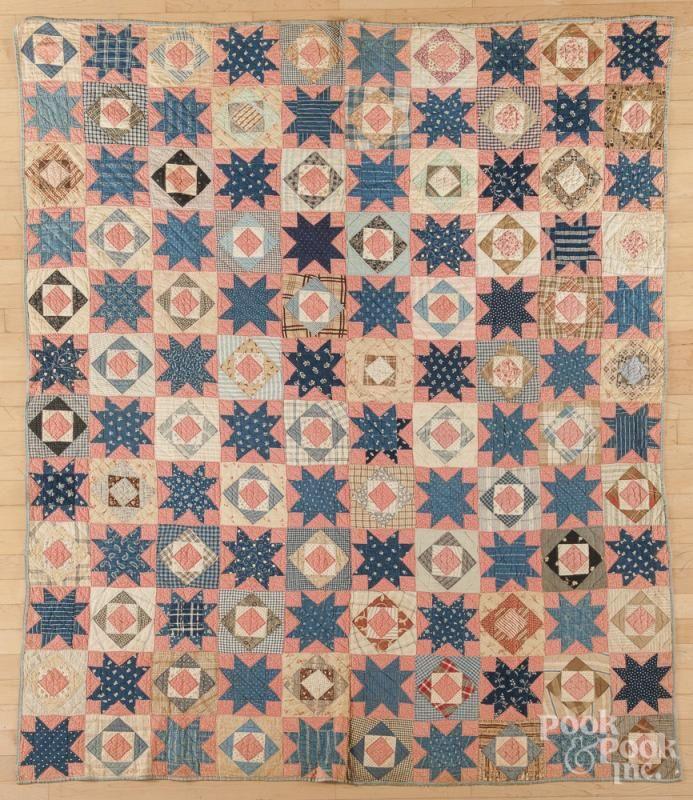 Pieced diamond and star in block quilt, late 19th c., 66'' x 79''. - Price Estimate: $100 - $150