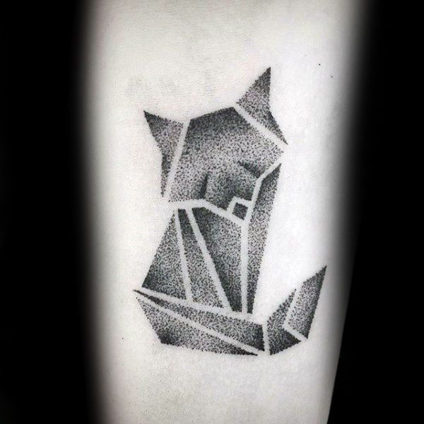 Amazing Small Origami Fox Guys Dotwork Arm Tattoo Designs