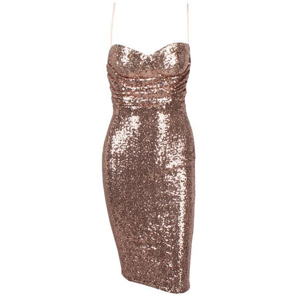 Honey couture rita rose gold sequin midi bodycon dress (3.995 UYU) ❤ liked on Polyvore featuring dresses, brown bodycon dress, body con dress, midi cocktail dress, bodycon cocktail dress and bustier dress