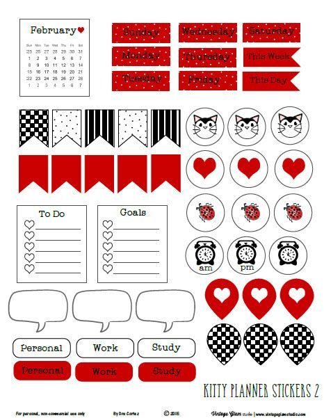 FREE Whimsical Kitty Planner Stickers  Ver2 -Free Printable Download By Vintage Glam Studio