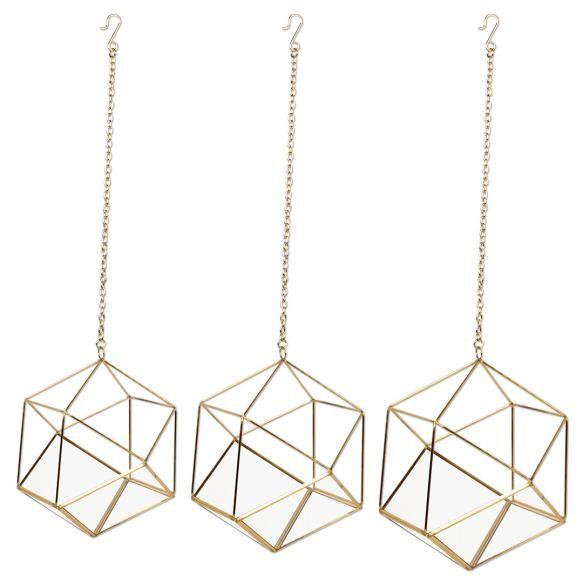 Geometric Hanging Air Planters Set Metal Hanging Planters Hanging Planters Hanging Vases