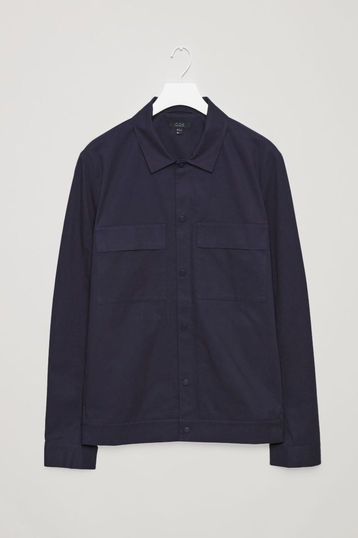 COS image 10 of Cotton shirt jacket with pockets in Navy