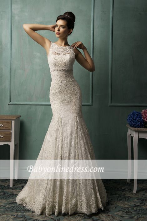 Elegant Lace Mermaid Wedding Dresses Open Back Court Train Bridal Gowns