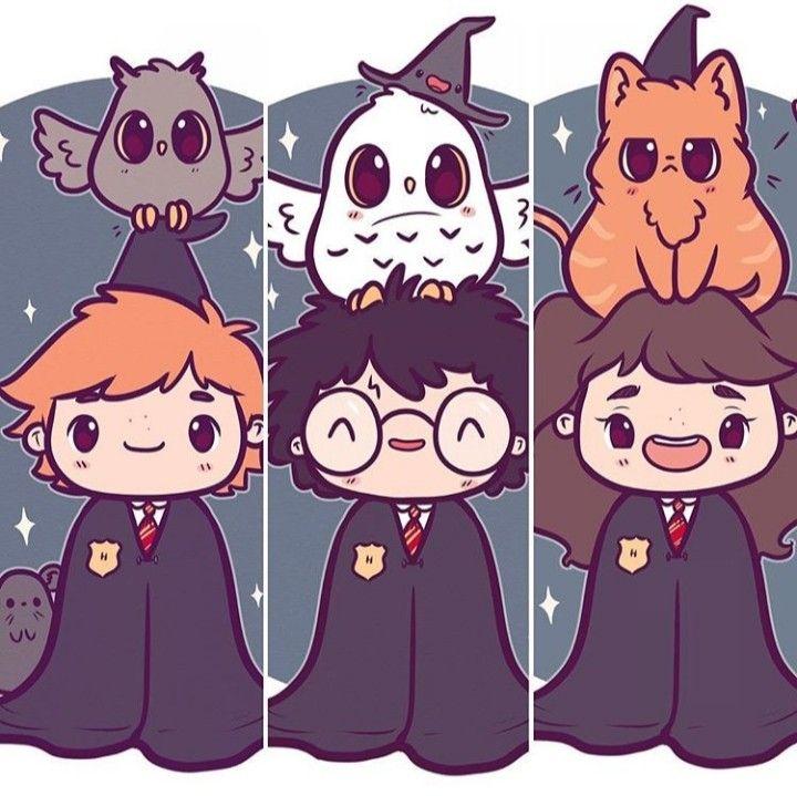 Ron Harry Hermione Harry Potter Cartoon Cute Harry Potter