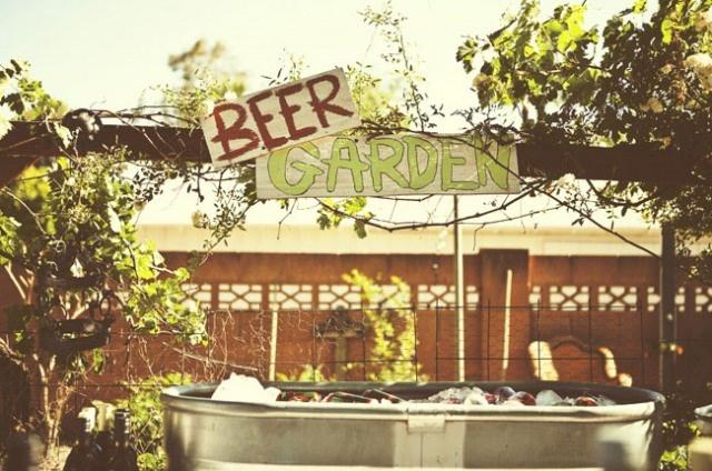 Backyard wedding beer garden