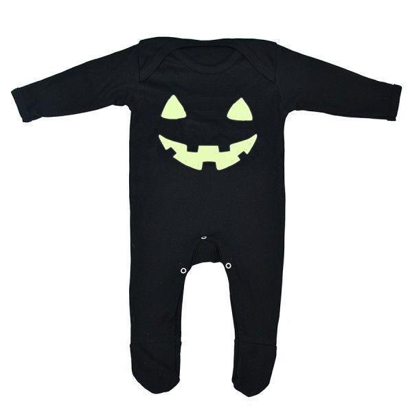 Pumpkin Face Halloween Baby Romper Sleepsuit