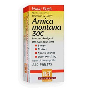 Arnica Montana 30C...After injuries, trauma, over-exertion, surgery, dental work, and child birth, Arnica Montana 30C helps alleviate and shorten muscle and joint pain, swelling, stiffness, and soreness, back pain, bruising, bleeding, mental shock. It is the #1 first aid remedy recommended by doctors, pharmacists, plastic and reconstructive surgeons, and chiropractors.