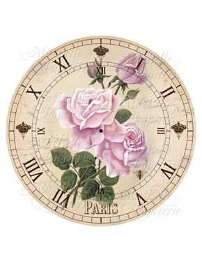 Shabby Chic Printable Clock-DIY Pink Victorian Roses Clock Face