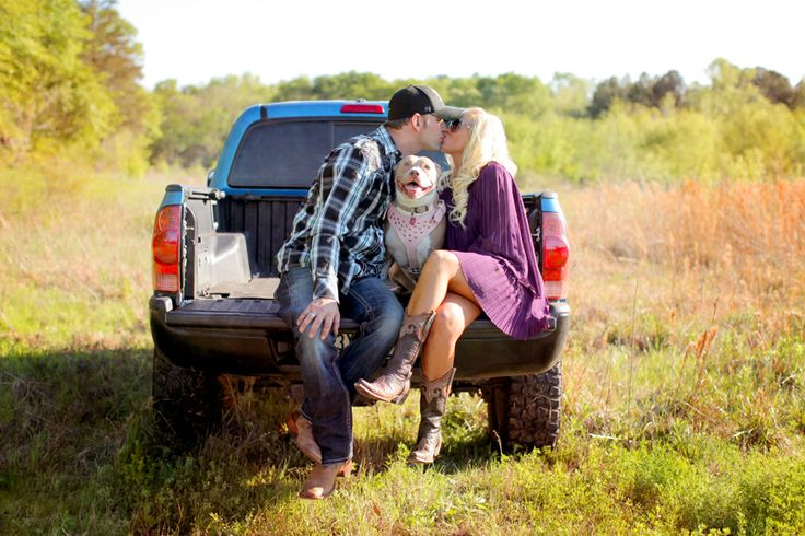 Engagement picture with the dog! This is happening and Joseph would love for his truck to be in it lol