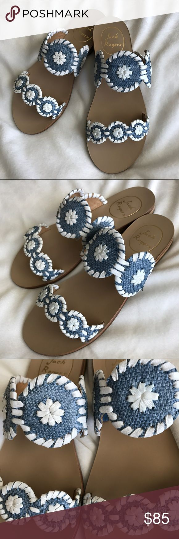Jack Rogers Lauren in Blue Raffia Brand New with Box! Classic Jack Rogers Lauren in sold out Denim Blue with White stitching. A must have for this summer! Jack Rogers Shoes Sandals