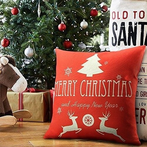 """Christmas Cushion Cover 18"""" Lovely Cotton Linen Deer Twins Design Xmas Case Red #easy_shopping08"""