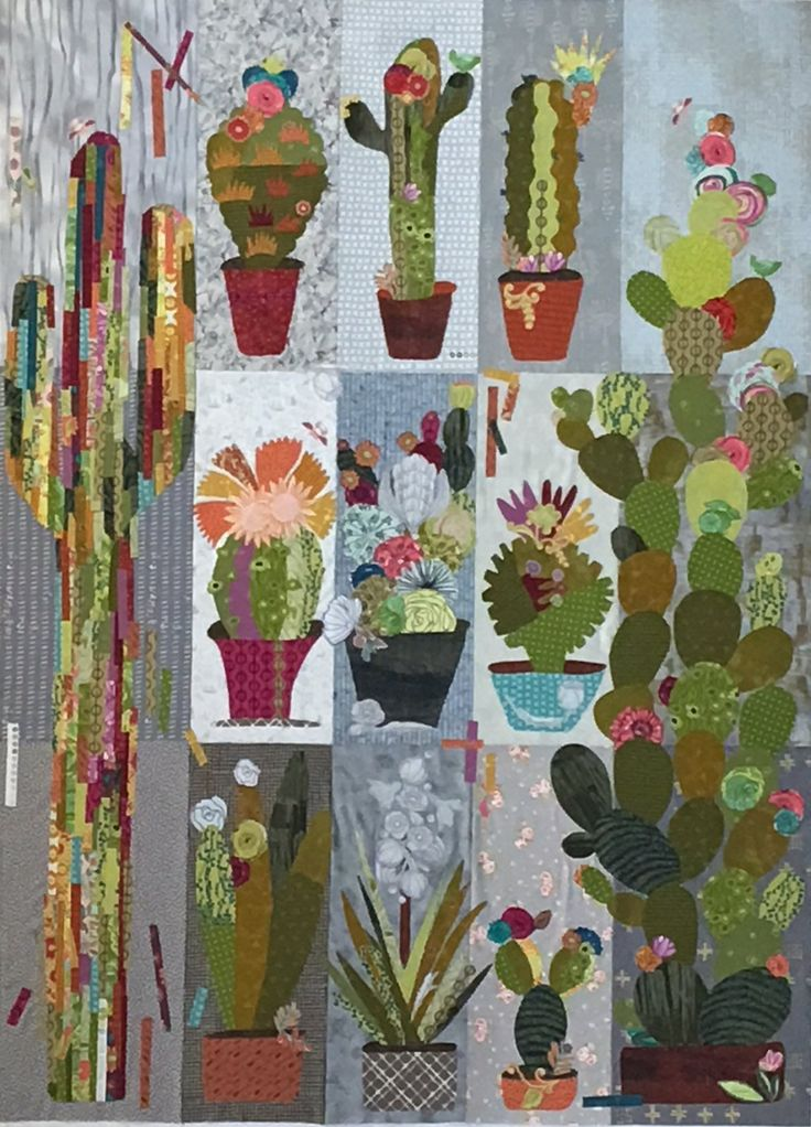 Collage Cactus Sampler Pattern by Laura Heine includes complete instruction  and full sized patterns to complete the 9 block Sampler quilt.