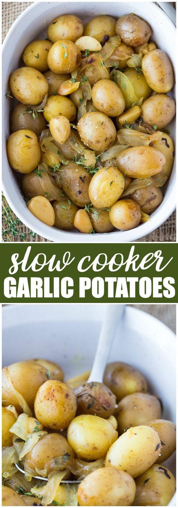 Slow Cooker Garlic Potatoes - Perfectly roasted, tender and full of delicious garlic flavour. Don't worry, the garlic isn't overpowering and provides the perfect hint to each bite!