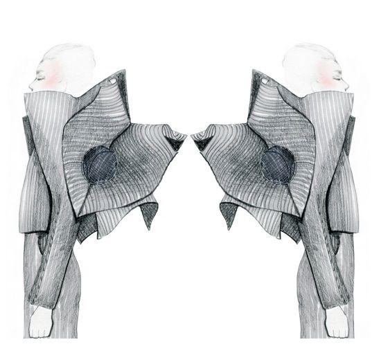 Fashion Sketchbook - sculptural fashion design, jacket sketches - fashion drawing; fashion portfolio // Arena Page