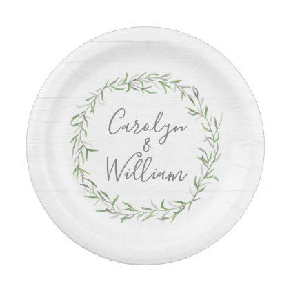 Rustic Wood & Botanical Leaves Wreath Wedding Paper Plate - rustic gifts ideas customize personalize