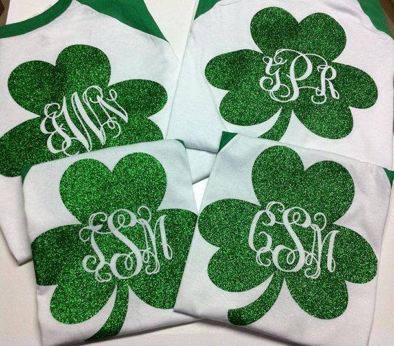 Monogramed Personalized St. Patrick's Day Baseball Shirts Glittered SHIPPING ON MONDAY 3-10-14 #St Patricks Day