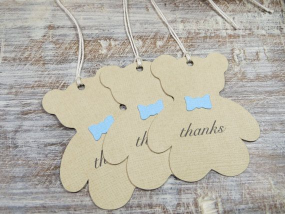 These cute teddy bear tags are the perfect topper for your favors. Each teddy bear is made from brown textured cardstock and is wearing a small blue bow tie. Thanks is printed in the center of each tag however this can be adjusted to accommodate your own special message. Just include a note at checkout and Ill send you a digital proof to review within 24 hours. The back of tags are blank. Paper is acid and lignin free. Ink and glue are acid free. Tags are assembled by me. Each set includes…