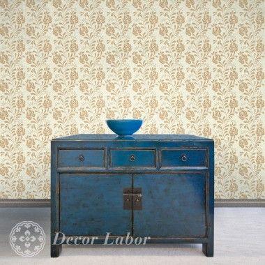 our stencils, vintage paint roller pattern - Folk