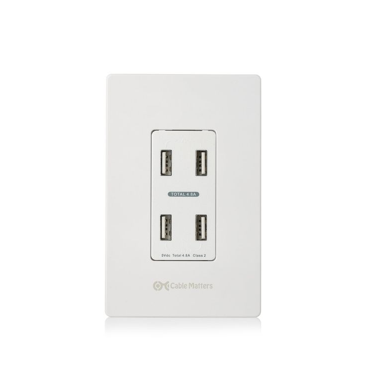 Cable Matters 4.8A 4-Port Charger Receptacle with Faceplate - - Amazon.com