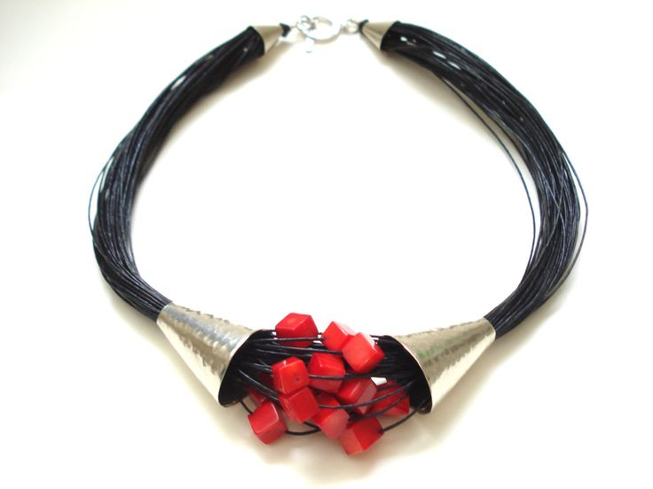 Coral Multi Strand Black Cord Statement Necklace by AnnaRecycle