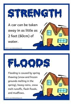 A set of 18 printable fact cards that give interesting facts about floods. Each fact card has a key word heading, making this set an excellent topic word wall as well! Visit our TpT store for more information and for other classroom display resources by clicking on the provided links.