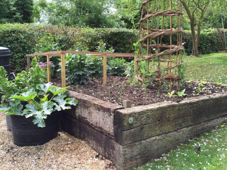 Raised garden beds railroad ties my garden pinterest for Garden railway designs