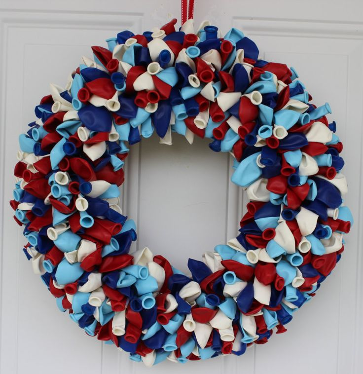 Balloon Wreath, Birthday Wreath, Birthday Decorations, Patriotic Wreath, Outdoor Door Wreath, Door Decoration, Baby Shower Decor, Baby Gift by ritzywreaths on Etsy